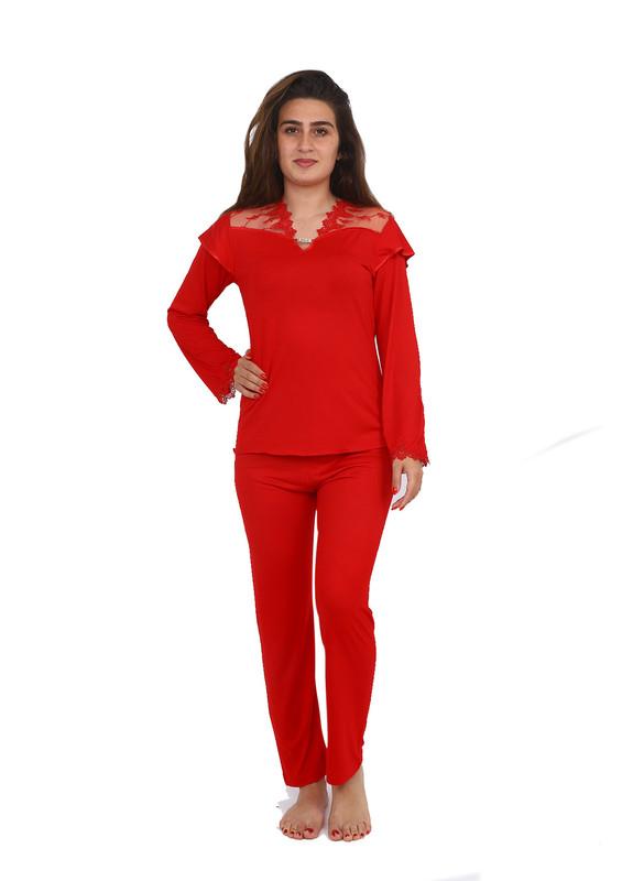 İMAJ - İmaj V Yaka Yakası Ve Kolları Güpürlü Pijama Takımı 120 | Kırmızı