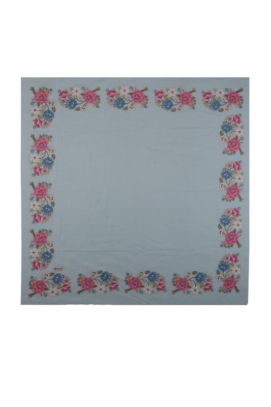 İPEKÇE - İpekçe Çiçek Desenli Yazma 90 cm   020