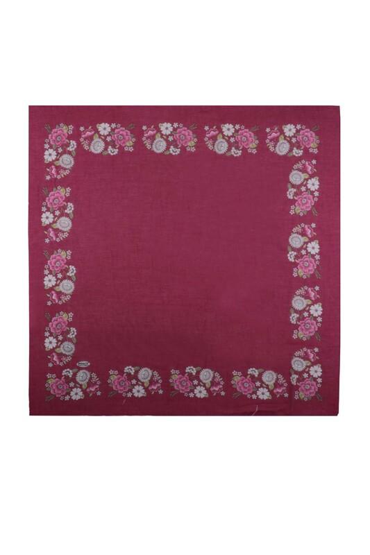 İPEKÇE - İpekçe Çiçek Desenli Yazma 90 cm   034