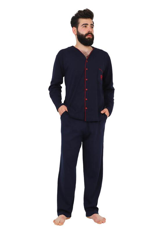 IŞILAY - Işılay Düğmeli Erkek Pijama Takımı 7500 | Lacivert