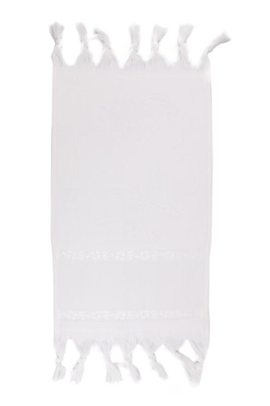 SİMİSSO - Bağlamalı Saçaklı İşlemelik Havlu 30*50 cm | Beyaz