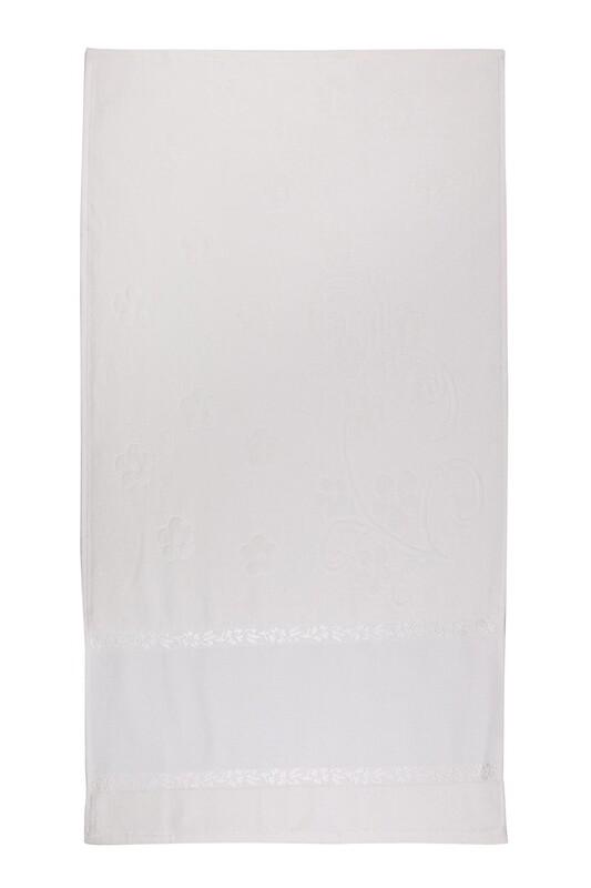 SİMİSSO - Saçaksız İşlemelik Havlu 50*90 cm | Krem