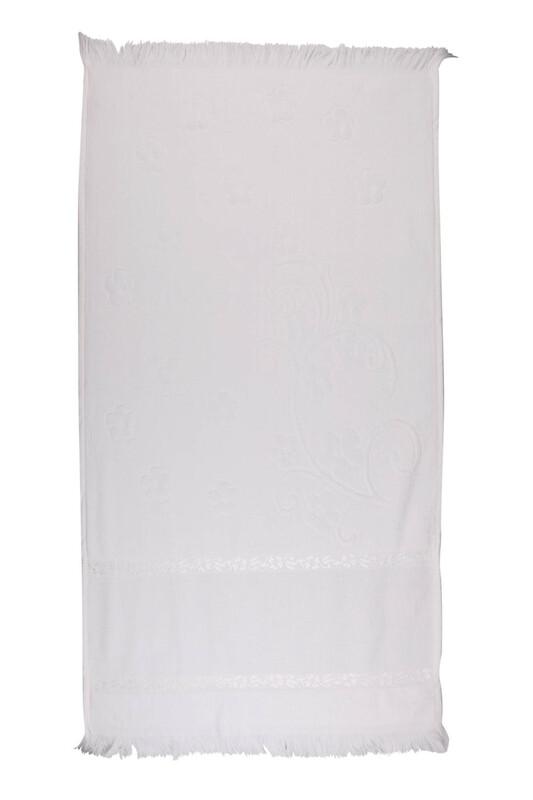 SİMİSSO - Saçaklı İşlemelik Havlu 50*90 cm | Beyaz