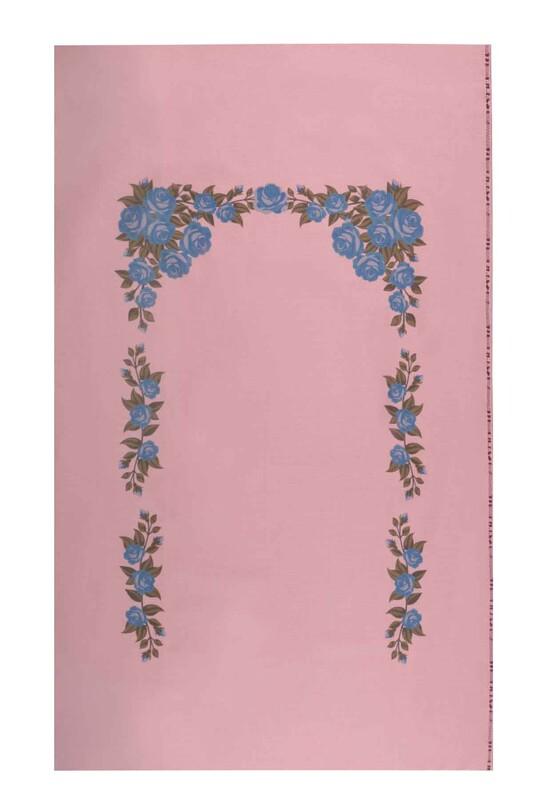 SİMİSSO - Baskılı Etamin İşlemelik Seccade Mavi 507   Pudra