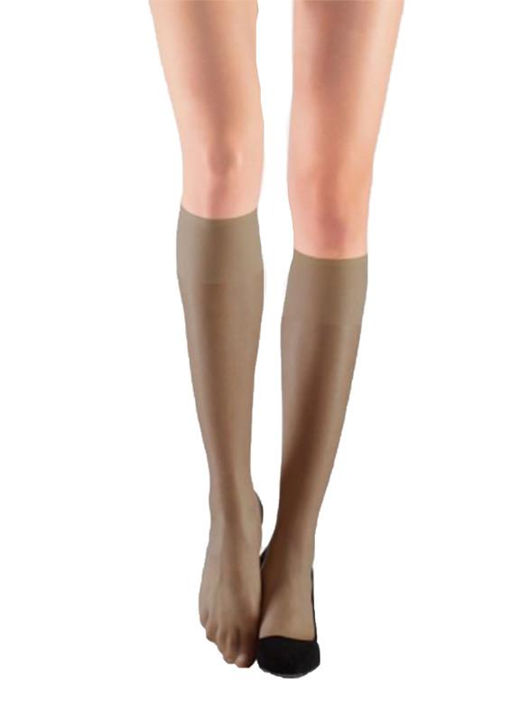 ITALIANA - İtaliana Konfor Bantlı Parlak Dizaltı Çorap 9423 | Vizon
