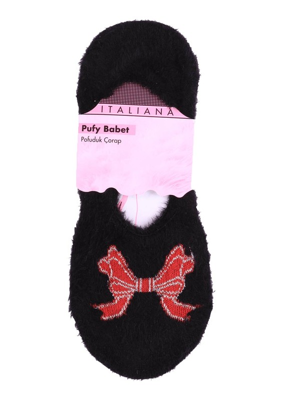 ITALIANA - İtaliana Kurdele Desenli Pamuk Siyah Çorap 215 | Siyah