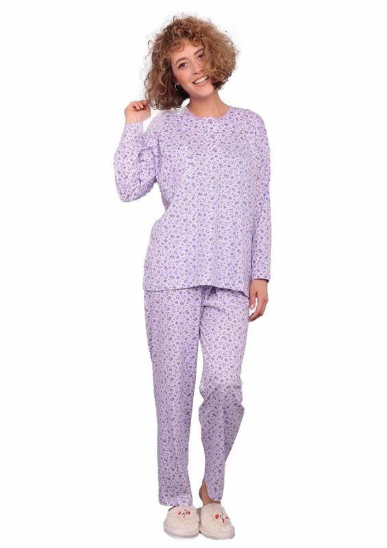 ITAN - İtan Çiçek Desenli Düğme Detaylı Mor Pijama Takımı 494 | Lila