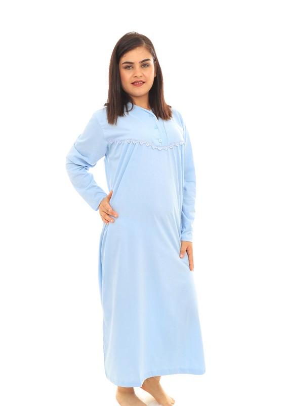ITAN - İtan Düğmeli Güpür Detaylı Uzun Nar Çiçeği Gecelik 001   Bebe Mavi