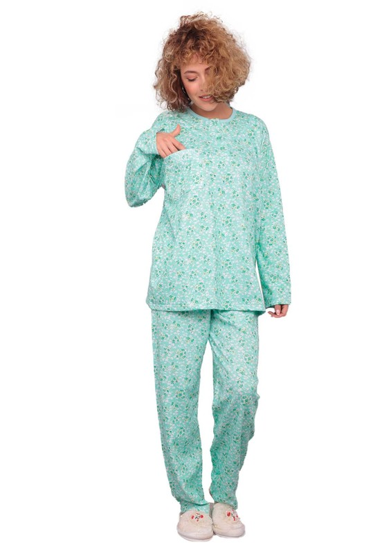 ITAN - İtan Papatya Desenli Düğmeli Cepli Mor Pijama Takımı 002 | Yeşil