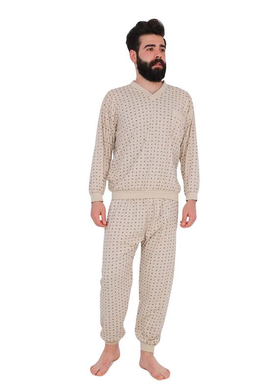 ITAN - İtan V Yakalı Cepli Pijama Takımı 3194 | Kahverengi