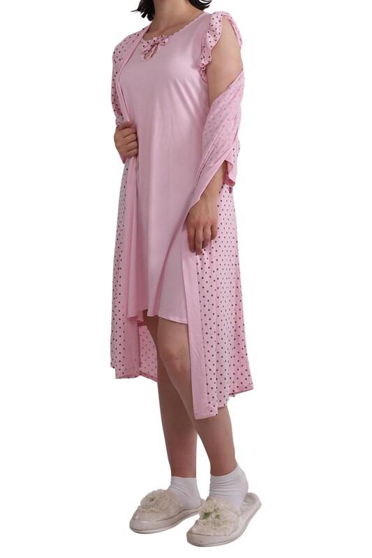 JAR PIERRE - Jar Pierre Puantiyeli Bağlamalı Pijama Seti 4 ' lü 212 | Pembe