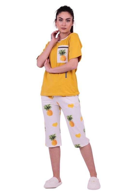 JİBER - Jiber Ananas Desenli Kadın Kapri Pijama Takımı 3636 | Sarı