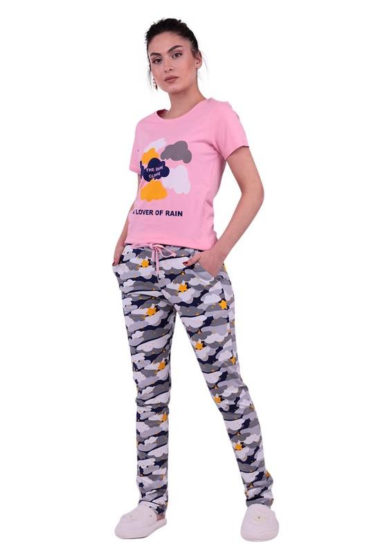 JİBER - Jiber Bulut Desenli Kadın Kısa Kollu Pijama Takımı 3610 | Pembe