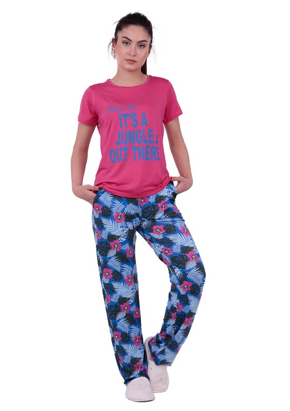 JİBER - Jiber Çiçek Desenli Kadın Pijama Takımı 3623 | Pembe