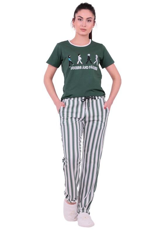 JİBER - Jiber Kadın Kısa Kollu Pijama Takımı 3612 | Yeşil