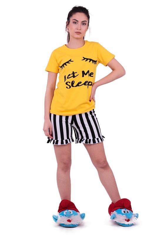 JİBER - Jiber Kadın Şortlu Pijama Takımı 3601 | Sarı