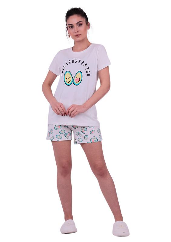 JİBER - Jiber Kadın Şortlu Pijama Takımı 3618 | Beyaz