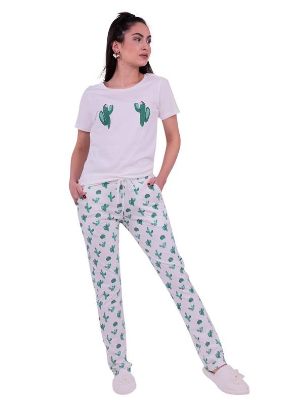 JİBER - Jiber Kaktüs Desenli Kadın Pijama Takımı 3621 | Beyaz