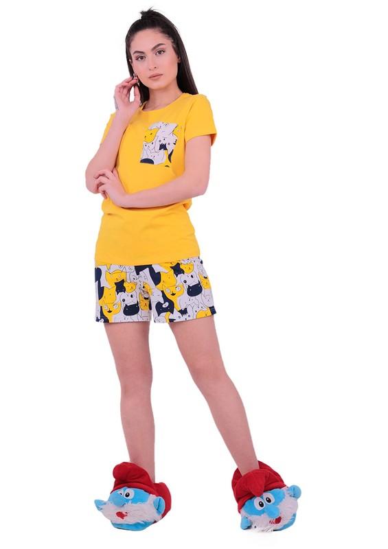 JİBER - Jiber Kedi Desenli Şortlu Pijama Takımı 3613 | Sarı