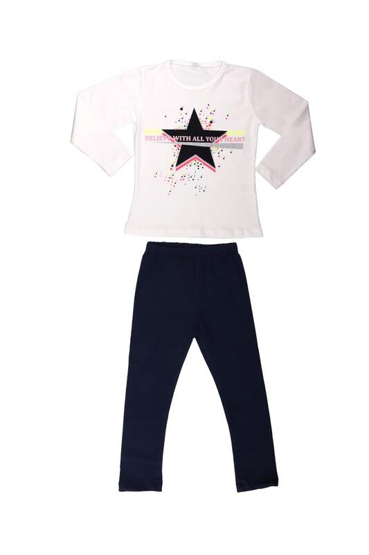 Juuta - Juuta Yıldız Baskılı Kız Çocuk Takımı | Beyaz