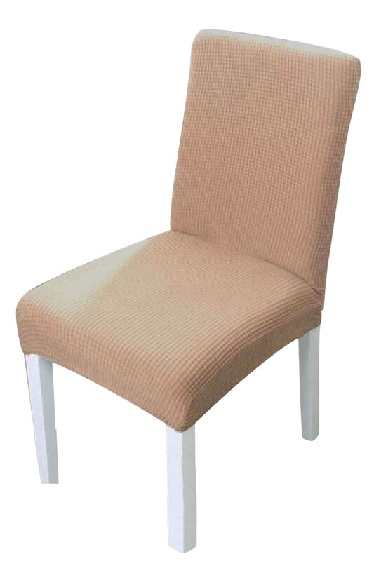 SİMİSSO - Kadife Likralı Sandalye Kılıfı 6'lı   Bej