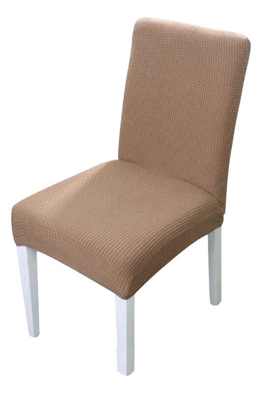 SİMİSSO - Kadife Likralı Sandalye Kılıfı 6'lı   Kahve