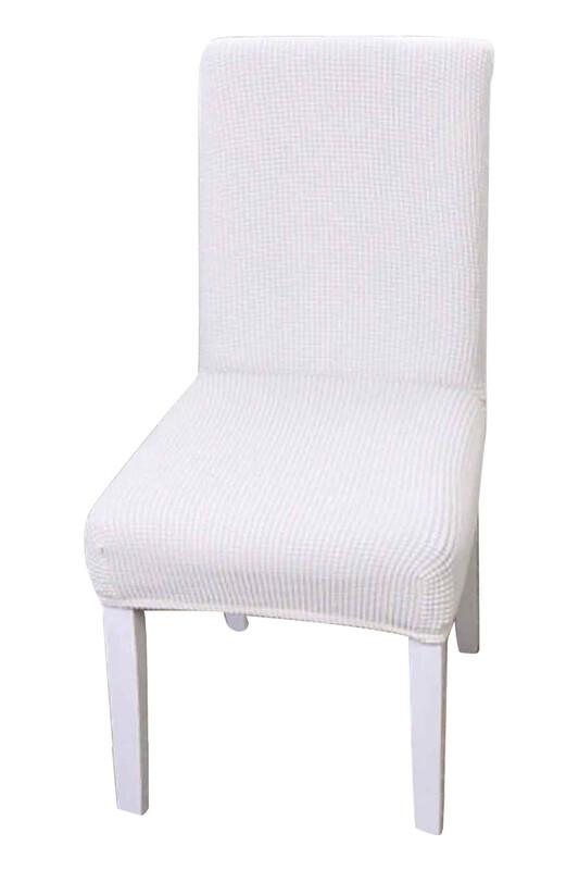 SİMİSSO - Kadife Likralı Sandalye Kılıfı 6'lı   Kırık Beyaz
