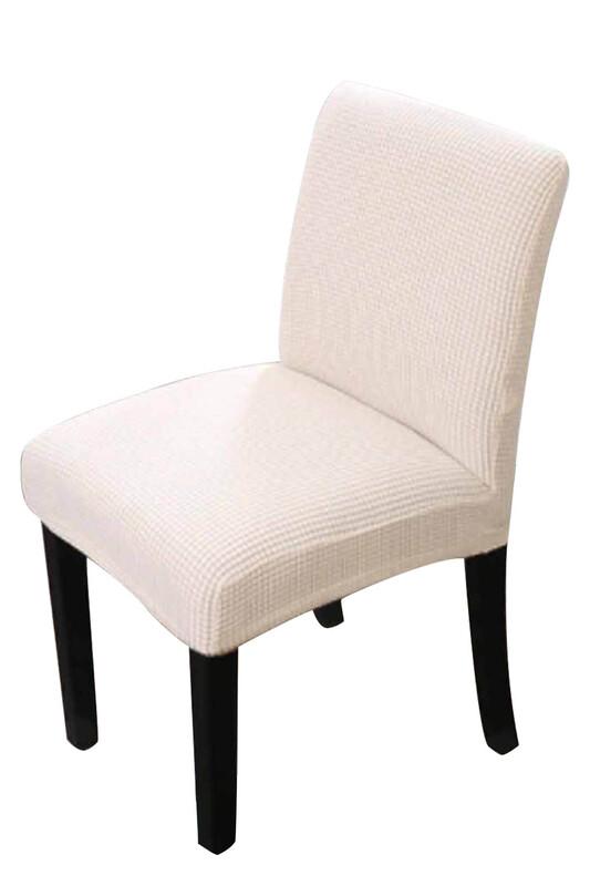 SİMİSSO - Kadife Likralı Sandalye Kılıfı 6'lı   Krem