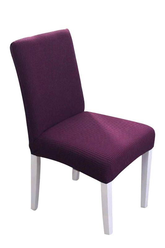 SİMİSSO - Kadife Likralı Sandalye Kılıfı 6'lı   Mürdüm