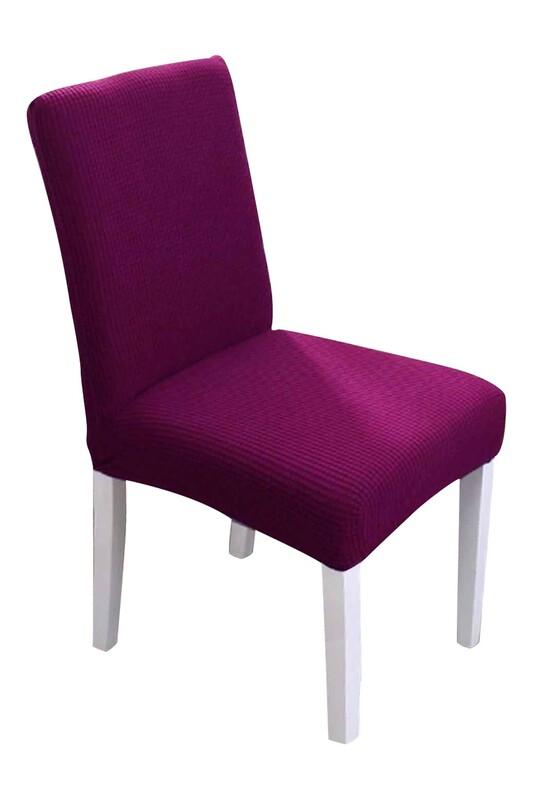 SİMİSSO - Kadife Likralı Sandalye Kılıfı 6'lı   Vişne
