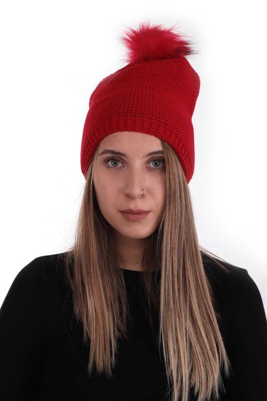 POYRAZ - Ponponlu Kadın Bere   Kırmızı