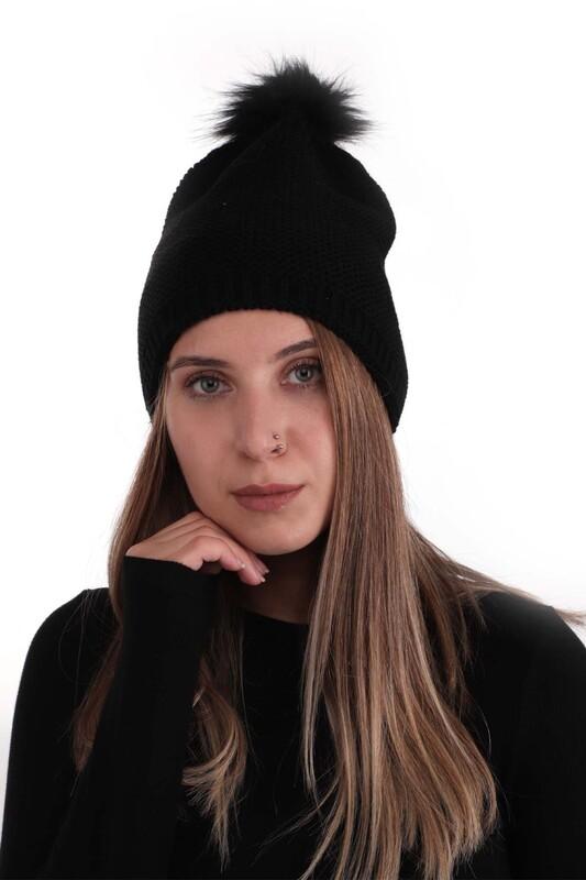 POYRAZ - Ponponlu Kadın Bere   Siyah