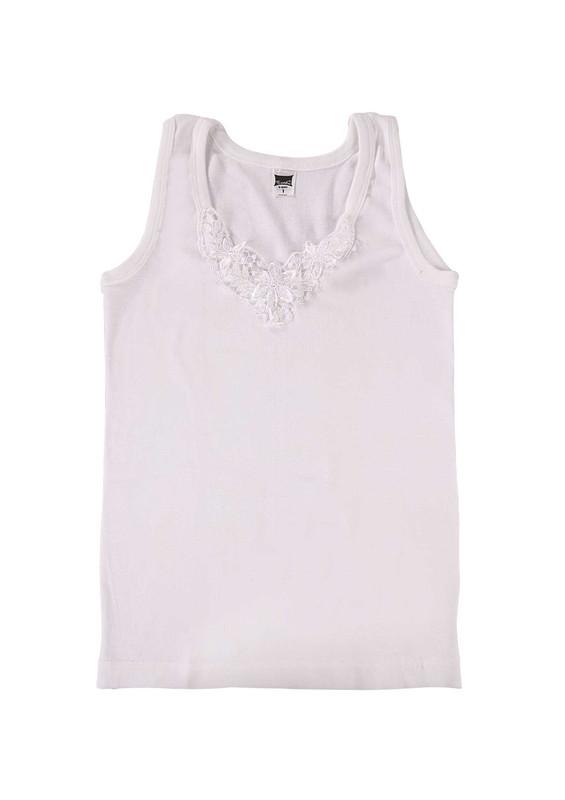 TUTKU - Tutku Ribana Kalın Askılı Güpürlü Atlet 140-9 | Beyaz