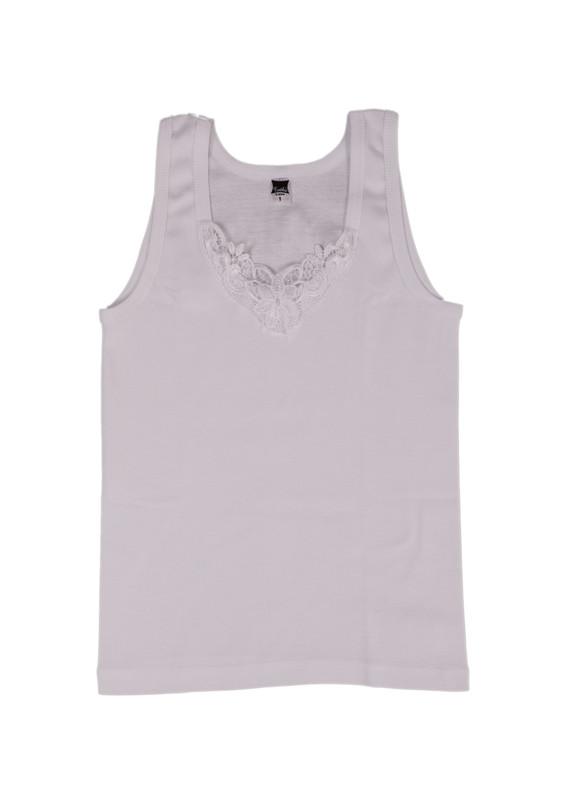 TUTKU - Tutku Ribana Kalın Askılı Güpürlü Atlet 140-10 | Beyaz