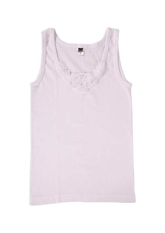 TUTKU - Tutku Ribana Kalın Askılı Güpürlü Atlet 140-8 | Beyaz