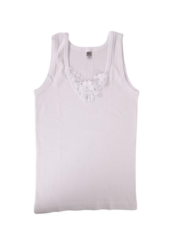 TUTKU - Tutku Ribana Kalın Askılı Güpürlü Atlet 140-5   Beyaz