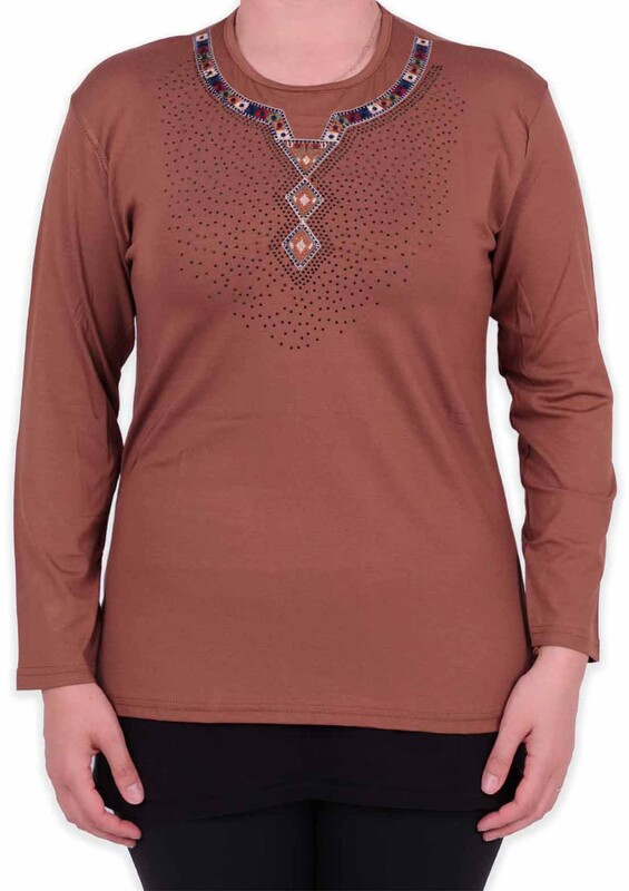 ASMİN - Etnik Desenli Taşlı Kadın Bluz | Kahve