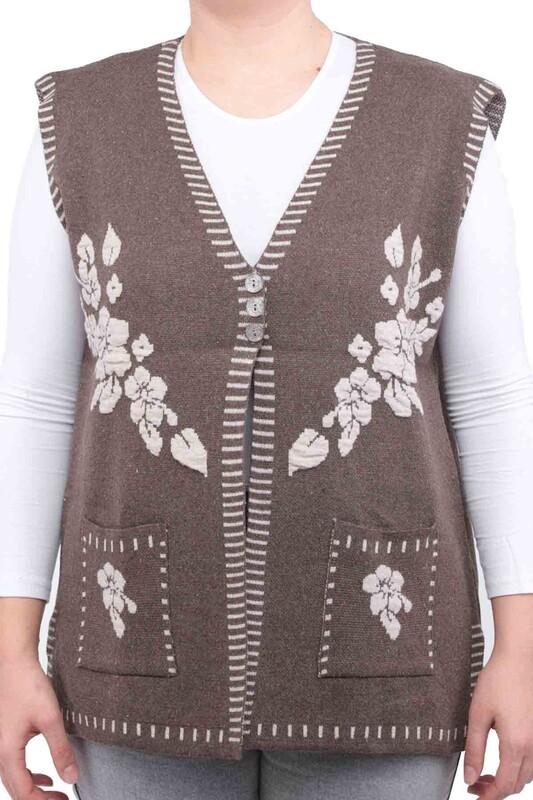 SİMİSSO - Çiçek Desenli Yelek | Kahverengi