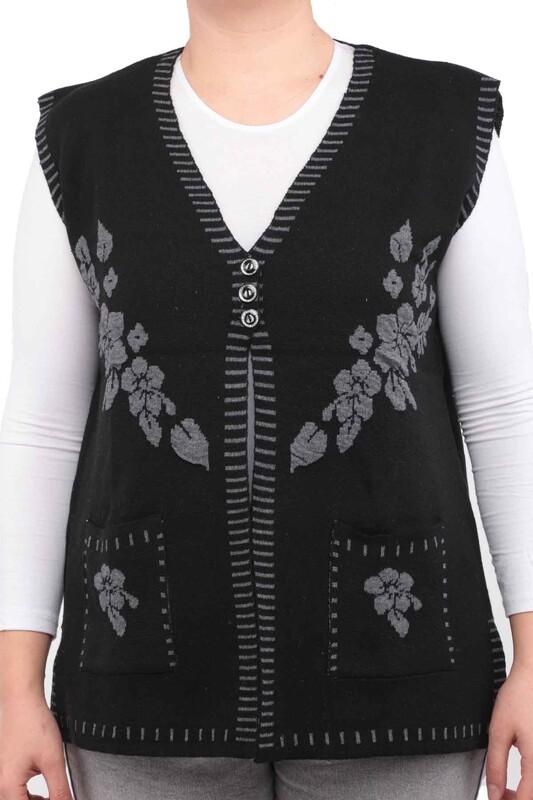 SİMİSSO - Çiçek Desenli Yelek | Siyah