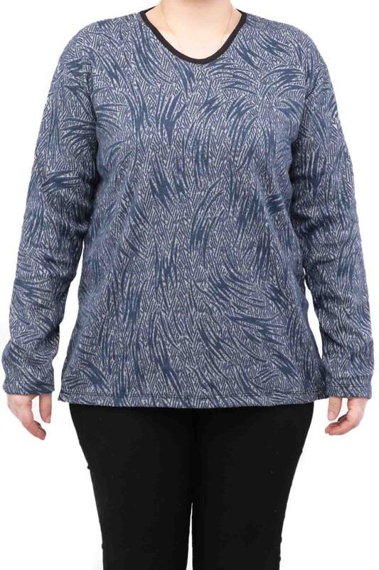 SİMİSSO - Çizgi Desenli Uzun Kollu Kadın Bluz | Mavi