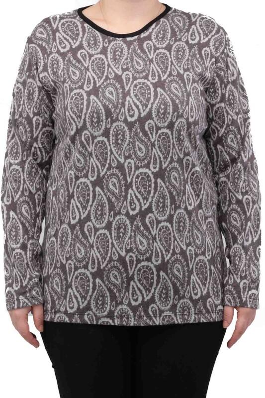 SİMİSSO - Yaprak Desenli Uzun Kollu Kadın Bluz | Kahverengi