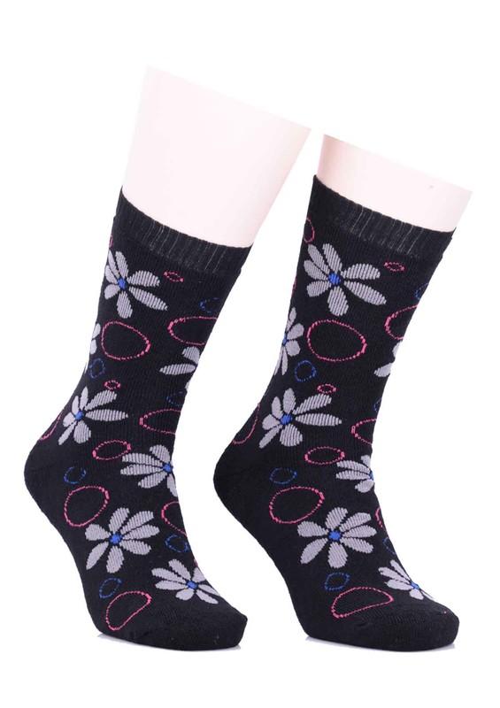 ARC - Arc Çiçekli Havlu Çorap 212   Siyah