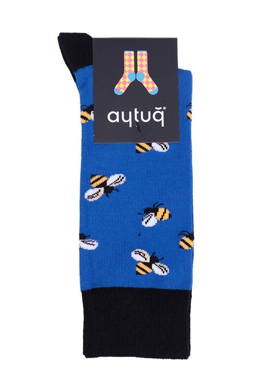 AYTUĞ - Aytuğ Arı Desenli Kadın Çorap 2432   Saks