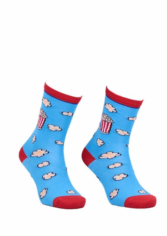 AYTUĞ - Aytuğ Popcorn Desenli Kadın Çorap 2432   Mavi