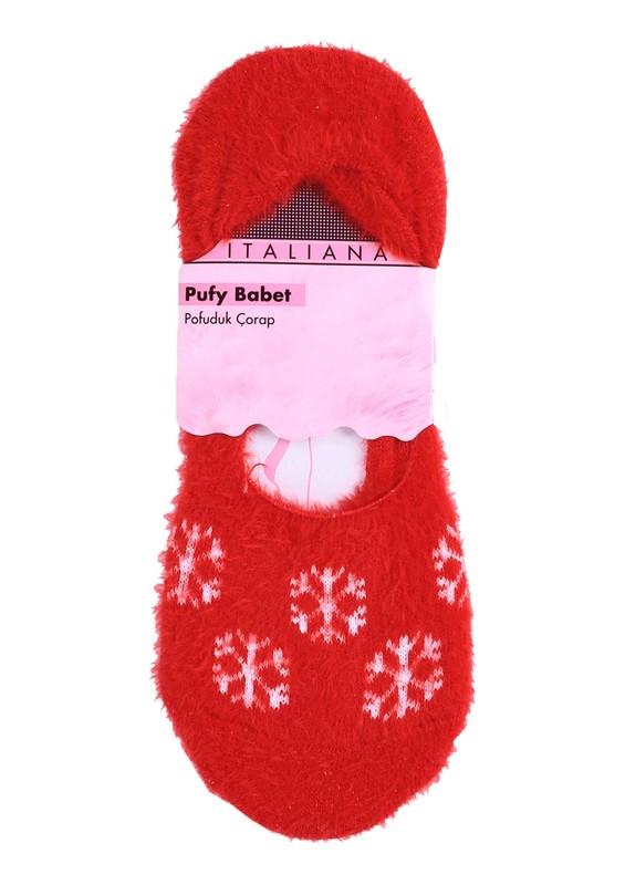 ITALIANA - İtaliana Kar Taneli Yün Kırmızı Çorap 214   Kırmızı