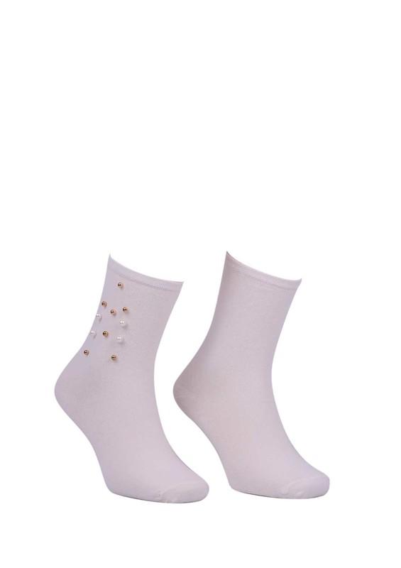 PAMELA - Boncuklu Düz Çorap 619 | Krem