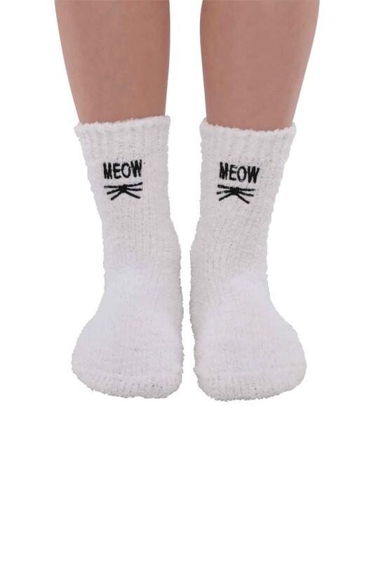 SAHAB - Kadın Nakışlı Peluş Çorap 48400   Beyaz