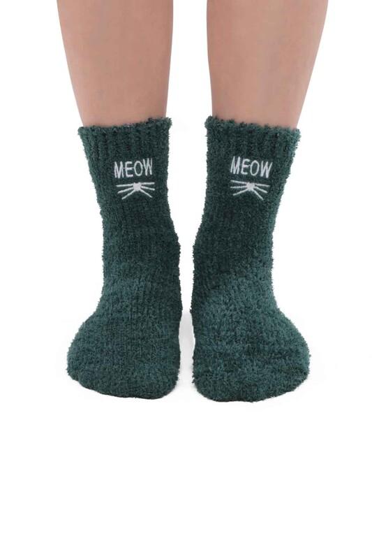 SAHAB - Kadın Nakışlı Peluş Çorap 48400   Yeşil