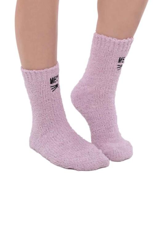 SAHAB - Kadın Nakışlı Peluş Çorap 48400   Lila