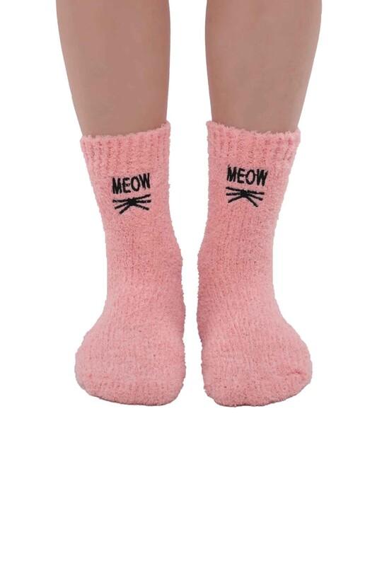 SAHAB - Kadın Nakışlı Peluş Çorap 48400   Pudra